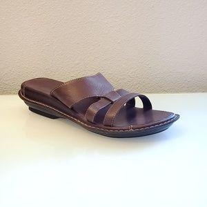 Clarks Leather Slide Sandals